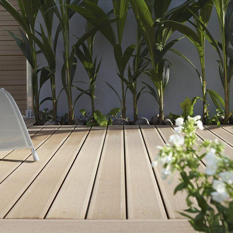 Focus sur une terrasse en bois bien entretenue